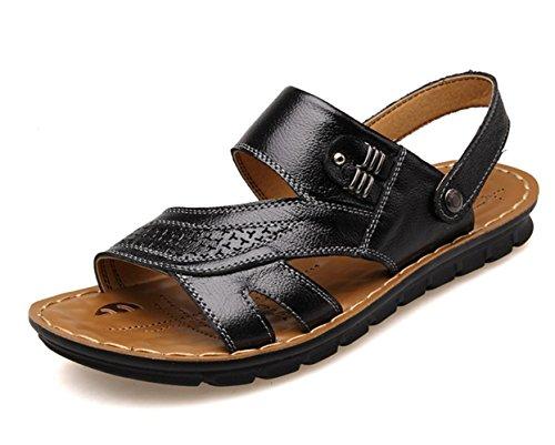 Sandali primavera-estate YCMDM Uomo Autunno Comfort pelle bovina esterna piedi sandali Ufficio carriera casuale scarpe a monte , black , 42
