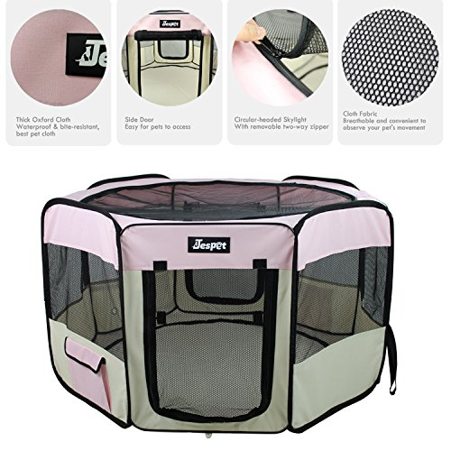 Jespet 61'' Pet Dog Playpens, Portable Soft Dog Exercise Pen Kennel with Carry Bag for Puppy Cats Kittens Rabbits,Pink by Jespet (Image #2)