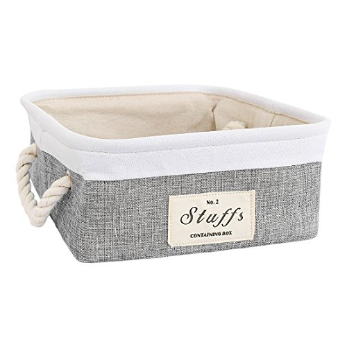 uxcell Collapsible Fabric Storage Bin Basket, Container Organizer Cube for Home Office Closet, Laundry Hamper with Cotton Rope Handles for Clothes Toys Books (Square,Gray)