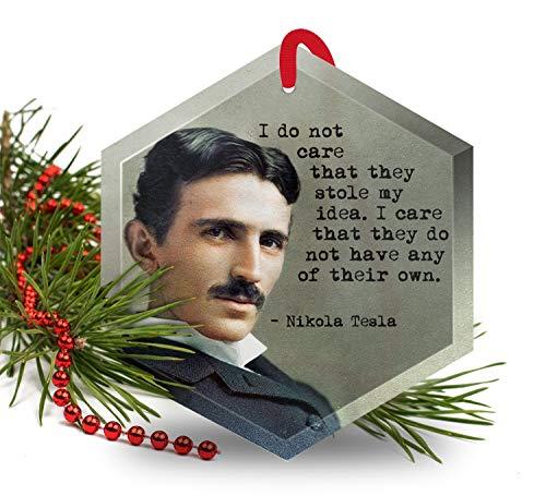 (Nikola Tesla - Famous Scientists Glass Christmas Ornament )