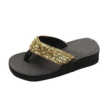 ZHRUI Zapatillas de Verano, Moda para Mujer Tacones Altos Lentejuelas Zapatillas de Playa Mocasines Damas