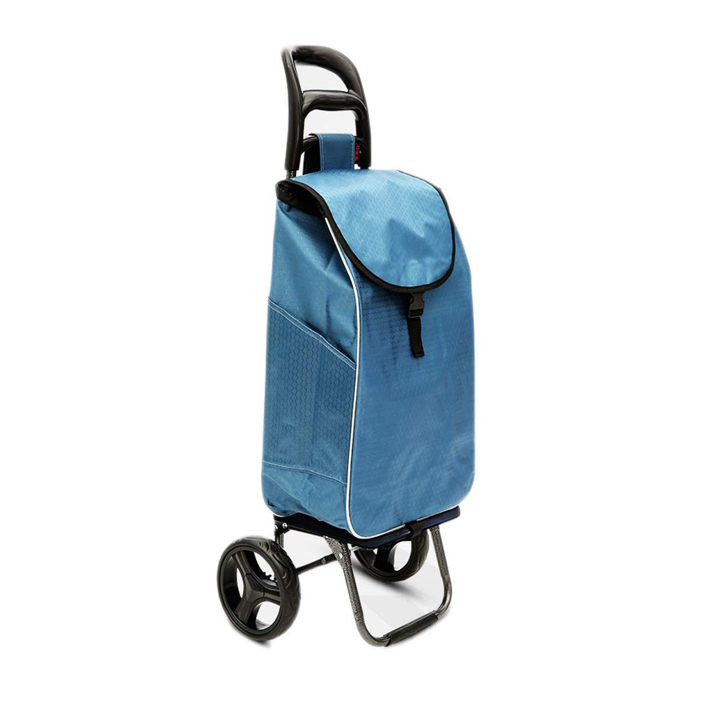 HTDZDX ファッションポータブル折りたたみトロリートロリー取り外し可能な摩耗厚鋼管防水布 (色 : 青) B07S3YYPM3 青