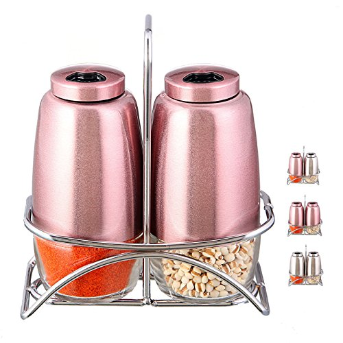 SILUKER Salt & Pepper Shaker Sets - Modern Kitchen Stainless Steel Pepper Shakers with Adjustable Holes and Convenient Stand + BONUS FREE Wooden Cooking Spoon(Rose Gold)