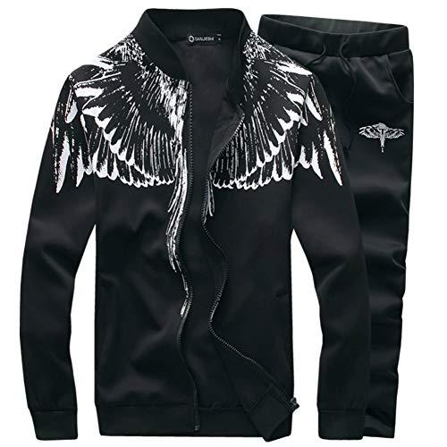 SEA GIANT Men's Autumn Winter Sport Coat Sweatshirt+Pants Sets Sports Suit Tracksuit,Black,XXL