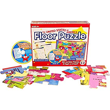United States Map Giant Floor Puzzle For Kids Toddlers 3 Foot States And Capitals Puzzle With Bonus Learning Audio Cd