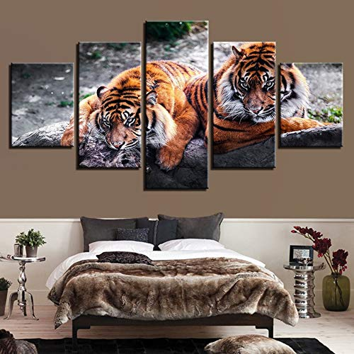 IGHFVJFG 5 Piece Canvas Wall Art -Modern Canvas Pictures Wall Art Framework Home Decor Living Room HD Prints 5 Pieces Fierce Tigers Paintings Forest Animal Poster-Size3-Framed