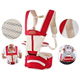 Breathable Baby Belt Waist Stool, Portable Removable Seat, Adjustable Stereo Backpack, Baby Carriage, 70-120cm, Load-Bearing 30kg (Color : Red)