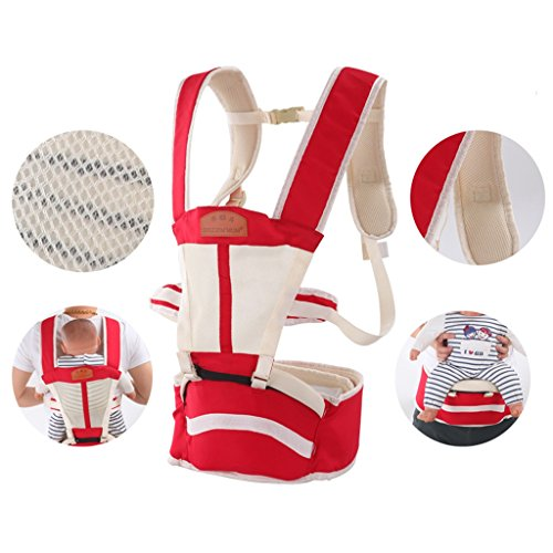 Breathable Baby Belt Waist Stool, Portable Removable Seat, Adjustable Stereo Backpack, Baby Carriage, 70-120cm, Load-Bearing 30kg (Color : Red) by Zhengfangfang