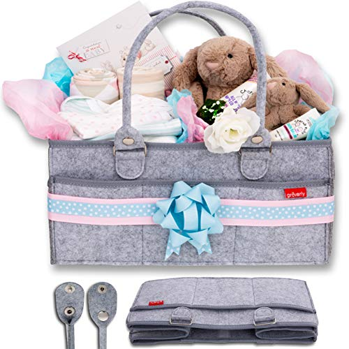 Groverly Baby Diaper Caddy Organizer - Portable Nursery Changing Table Storage Bag | Removable Handles Grey | Arts Craft Toy Caddy for Home | Baby Shower ()