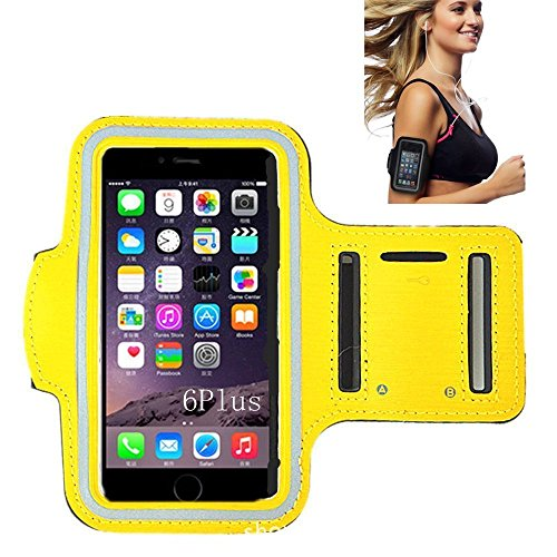 iPhone 6 Armband, Cantop iPhone Armband for Running with Free Screen Protector iPhone 6 Sports Armband Also Fits iPhone 5, 5S, 4, 4S, Galaxy S3, S4 + Key Holder, Water Resistant (Yellow)