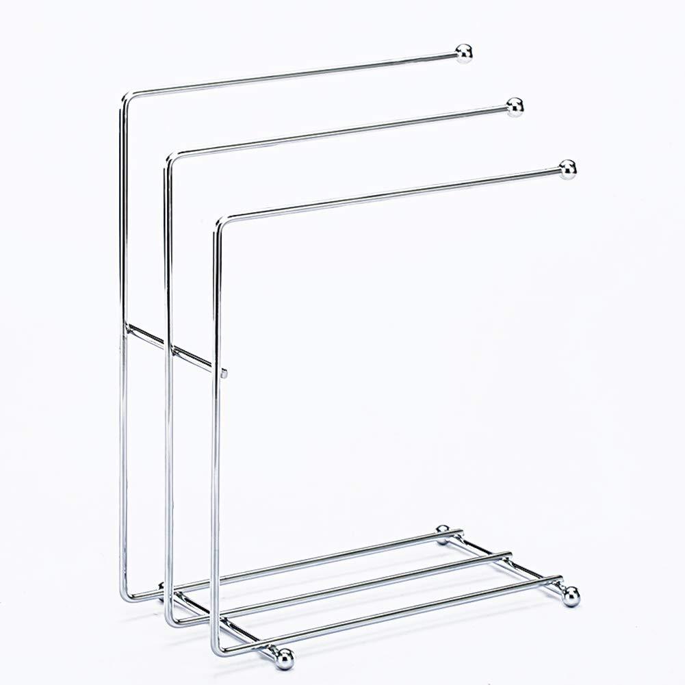 Be&xn Drying Rack, Standing Kitchen Rags Rack Multi-Purpose Desktop glassholder Dishcloth Storage Stand with 3 Hanging Towel Racks for Kitchen Bathroom -Stainless Steel