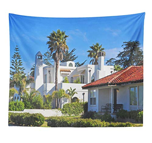 Happyome Panoramic Ocean Palm Tree Tapestry, Tapestry Wall Hanging California USA June Houses Santa City Ocean Famous Natural Wall Tapestry for Bedroom Living Room Dorm 60X80 Inches