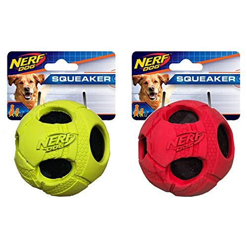 (Nerf Dog 3.5in Bash Rubber Wrapped Tennis Ball 2-Pack: Green and Red, Dog Toy)