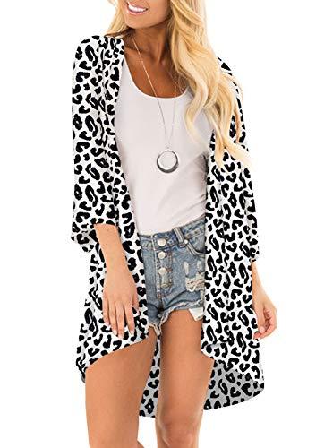 (Women Floral Print Kimono Cover Up Sheer Chiffon Blouse Loose Long Cardigan Black Leopard Large)