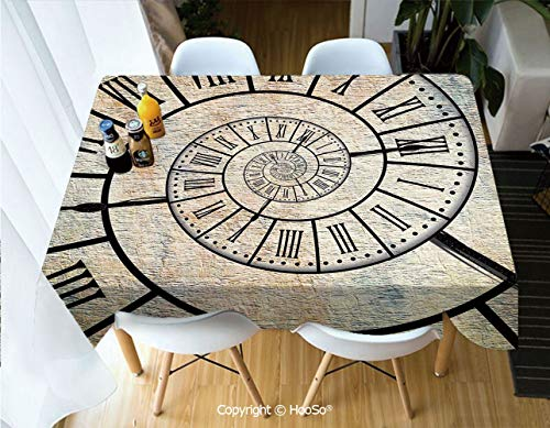 HooSo Premium Polyester Table Cover, Machine Washable, Durable Table Cloths for Wedding Reception Restaurant Banquet Party,Clock Decor,A Roman Digit Time Spiral on The Vintage,53