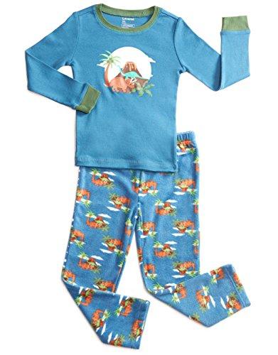 Leveret Fleece & Cotton 2 Piece Pajama Dinosaur Boy 3 Years
