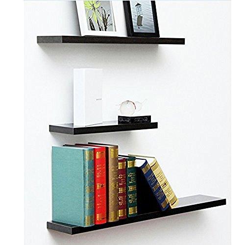 Floating Shelves Wall Mounted 3 Display Storage Ledge Shelf for Bedroom, Living Room, Bathroom, Kitchen, Office Decoration, Black 3 Shelf Display