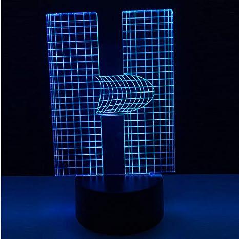 Novedad Lámpara 3D Alfabeto Letra H 7 Tabla De Mesa De Cambio De Color Led Bombilla Usb Touch Luz Nocturna Home Bar Decoración Kid Bebé Presente: Amazon.es: ...