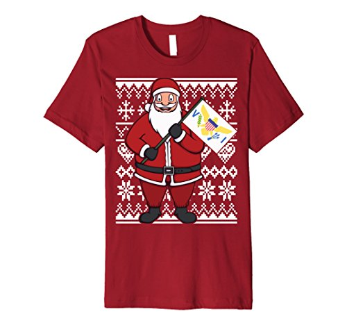 Mens Ugly Christmas Virgin Islands Flag Santa Gift Idea T-Shirt Large - Island Santa Fashion