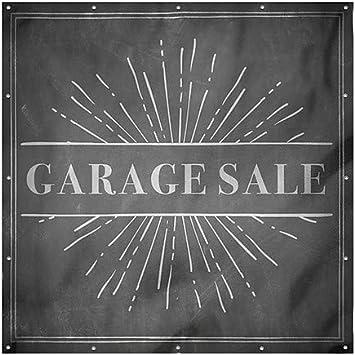 Garage Sale Chalk Burst Wind-Resistant Outdoor Mesh Vinyl Banner CGSignLab 8x8