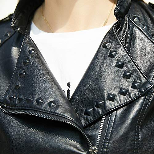 Collar Las Chaqueta del Motocicleta L Ropa Soporte la PU la Negro de Adelgazante Chaqueta de SED Mujeres Cortocircuito de del otoño la la de Delgado del de qCxwHFTd