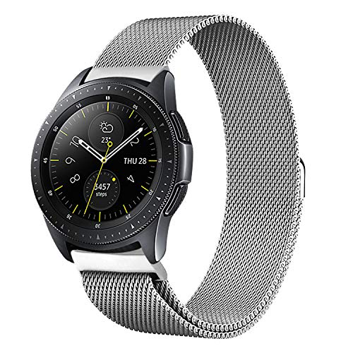 Shangpule Compatible Samsung Galaxy Watch (42mm) Bands, 20mm Milanese Loop Stainless Steel Metal Replacement Bracelet Strap Compatible Galaxy Watch SM-R810/SM-R815 /Gear Sport Smartwatch (Silver)