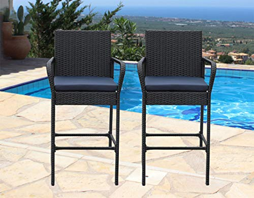 Outime Patio Bar Furniture PE Rattan Chair Bar Stools Black Wicker Cushioned Bar stools Set Navy Blue Cushions,Set of 2
