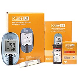 Blood Total Cholesterol Test Kit – Curo L5 Digital Meter – (10 Total Cholesterol Strips Included)