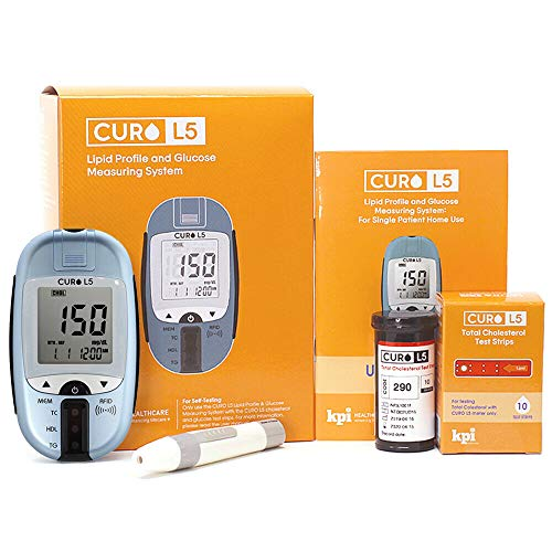 Blood Cholesterol and Glucose Test Kit - Curo L5 Digital Meter - (10 Total Cholesterol Strips Included)