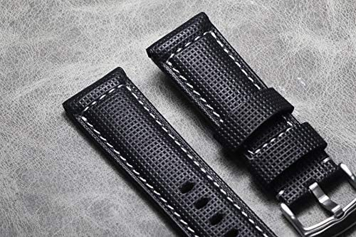 RTYW 20 21 22 24 26ミリメートル 厚い本革ウォッチストラップ手作り時計バンドブラック腕時計バンド (Band Color : B White line, Band Width : 26mm)