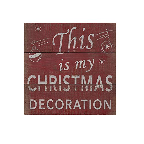 "Waroom Home Wood Wall Sign, Table Sign, Decorative Wooden Wall Art Decor Hanging Sign Trimmed Box Sign, 8"" x 8"", ""This is My Christmas"" ()"