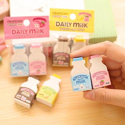 Bzuma – 2 unidades/pack kawaii fruta lechosa mini goma borrador creativo papelera suministros escolares papelaria regalo para niños []: Amazon.es: Oficina y papelería