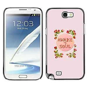 FECELL CITY // Duro Aluminio Pegatina PC Caso decorativo Funda Carcasa de Protección para Samsung Note 2 N7100 // Awake Soul Inspiring Spring Flowers Peach