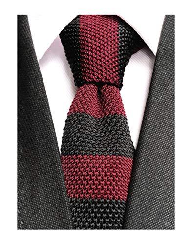 Men Novelty Wide Stripe Burgundy Red Black Fashion Knit Tie Stylish Groom Groomsmen Wedding Neckties