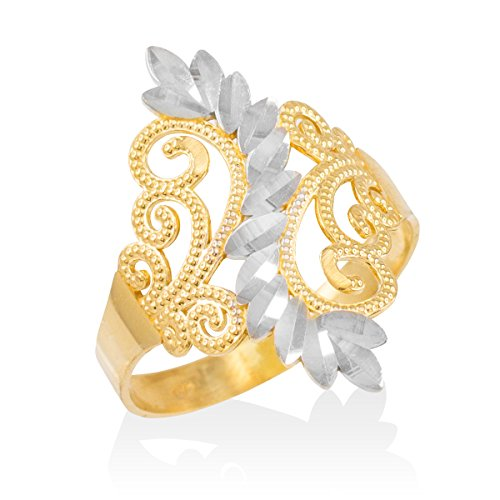 Modern Contemporary Rings High Polish 10k Two-Tone Gold Filigree Leaf Coktail Ring (Size 10)