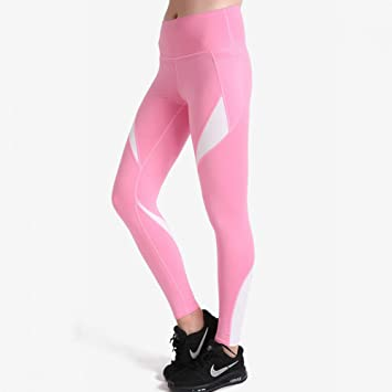 YOGOAOO Pantalones de Yoga Rosa y Blanco Polainas de Las ...