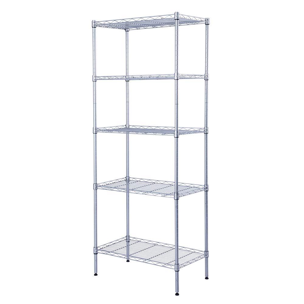 SINGAYE Storage Rack 5-Tier Mesh Shelving Unit Storage Shelves Metal for Pantry Closet Kitchen Laundry 23.6'' L x 14'' W x 59.1'' H Silver by SINGAYE
