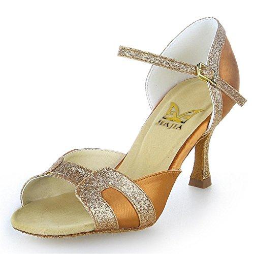 Jia Jia 2057 Damen Sandalen Ausgestelltes Heel Super-Satin mit funkelnden Glitter Latein Tanzschuhe Tan