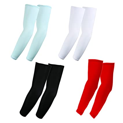 9b30cf21c3 The Elixir 4 Pairs of Unisex Arm Sleeves UV Protection Athletic Compression  Cooling Arm Sleeves (