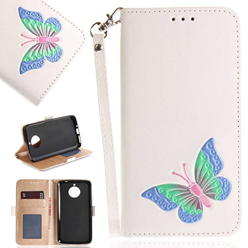 Moto E4 Plus Case, UNEXTATI Butterfly Embossing Design PU Leather Flip Wallet Cover Case with Card Holder for Moto E4 Plus (White #8)