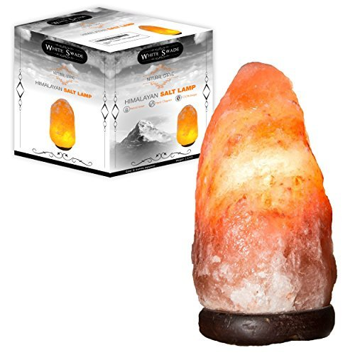 WhiteSwade Hand Crafted 8-Inch Himalayan Rock Crystal Salt Lamp with Dimmer Switch, Neem Wood Base, 15W Bulb and 6-Feet Cord