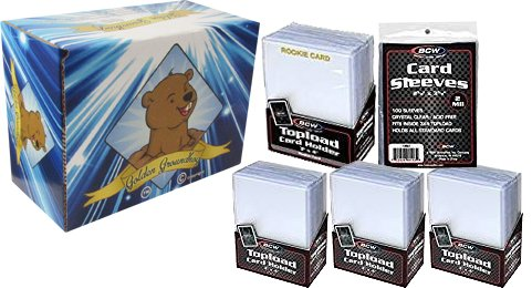 200 Piece Toploader and Penny Sleeve Value Bundle - 75 Standard 3x4 Trading Card Top Loaders - 25 Gold Embossed Rookie Trading Card 3x4 Top Loaders - 100 Trading Card Penny Sleeves! GG Box Included! (Card Trading Top)