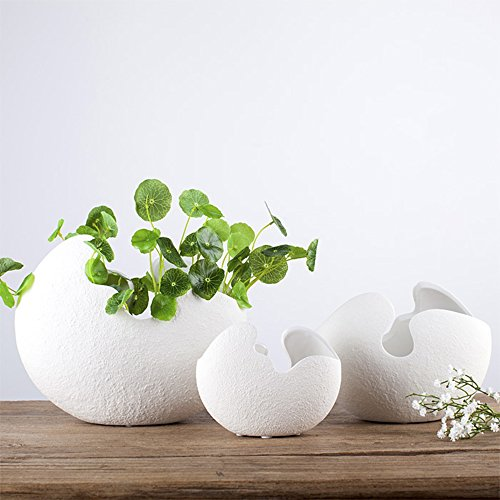- LOHOME White Eggshell Shape Hydroponic Plant Vase - Modern Simple Ceramic Decoration for Art of Flower Arranging - Soil Cultivating Plant Flowerpot-1 PC (Small Size)