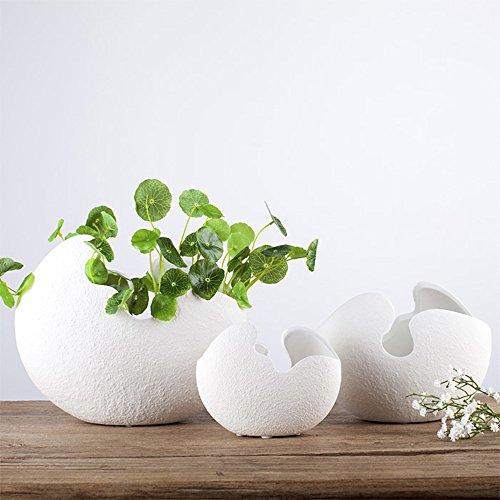 LOHOME White Eggshell Shape Hydroponic Plant Vase - Modern Simple Ceramic Decoration for Art of Flower Arranging - Soil Cultivating Plant Flowerpot-1 PC (Small Size)