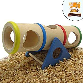 Alfie Pet by Petoga Couture - Small Animal Playground - Karo Cylinder Wooden Seesaw Toy for Small Animals like Dwarf Hamster and Mouse