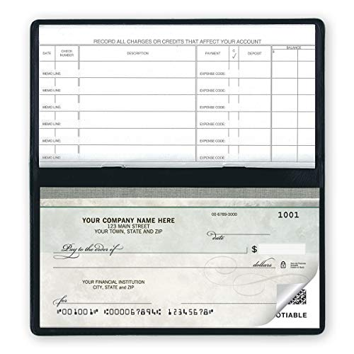 CheckSimple Compact Business Checks - Manual Personal Size Green Marble (2-Part) with Register (100 Checks)