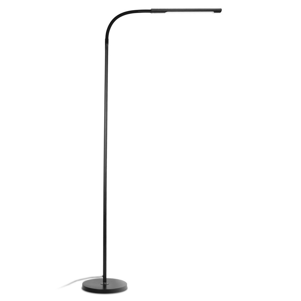 Byingo 12W Dimmable Touch Sensor Switch LED Reading Floor Lamp – Modern Simplicity Style – 4 Color Modes Stepless Dimming – Fully Adjustable Long Gooseneck, for Sofa Desk Reading, Living Room, Bedroom