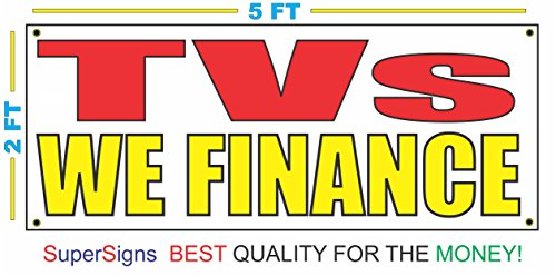TVs WE FINANCE Banner Sign 2X5 Red & Yellow