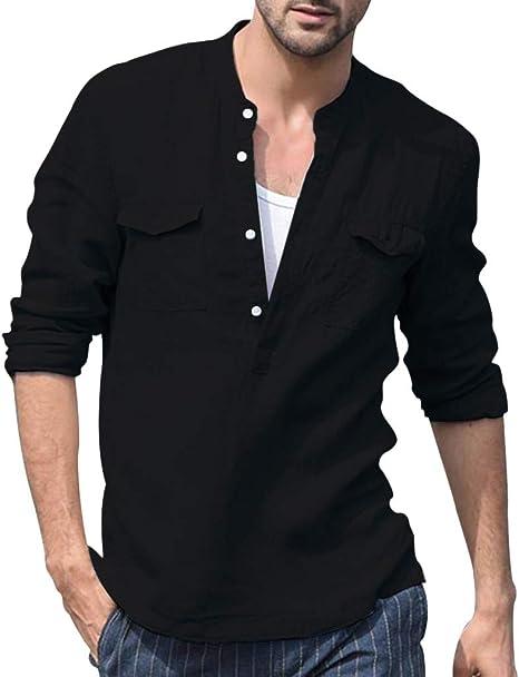 Imagen deHCFKJ Camisetas Hombre Hombres Baggy AlgodóN Lino Bolsillo SóLido Manga Larga Vintage Camisetas Tops Blusa