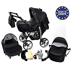 Kamil, Classic 3-in-1 Travel System with 4 Static (Fixed) Wheels incl. Baby Pram, Car Seat, Pushchair & Accessories…